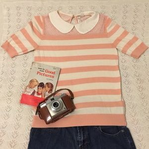 Peter Pan collared peach striped top